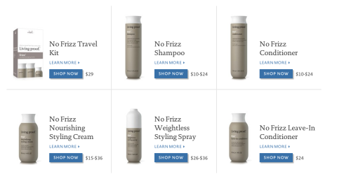 Screen shot of the No Frizz line from Living Proof